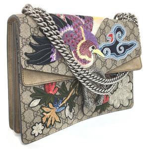 Gucci Handbag Dionysus Bird Embroidered 403348 GG PVC Leather Beige Ladies
