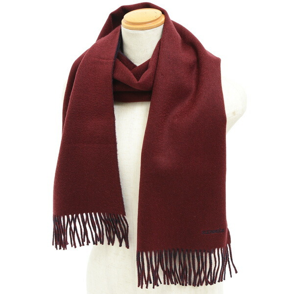 Hermes muffler with fringe logo embroidery reversible bordeaux navy 100% cashmere