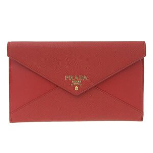 PRADA Prada Saffiano Letter Type Clutch Bag Red 1MF003 Leather