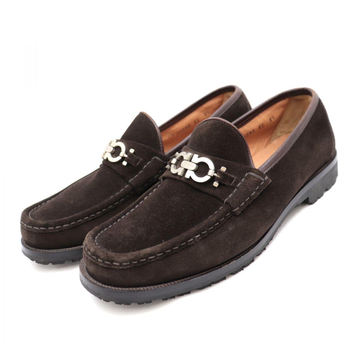 Salvatore Ferragamo DIEGO Gancio Suede Bit Loafers Men's Brown 8.5EE Shoes