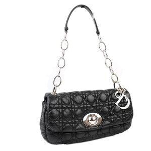Christian Dior Canage Chain Leather Shoulder Bag Black Silver Ladies Quilting