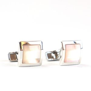 Dunhill Square Silver Cufflinks Pink Shell Men's 925S dunhill