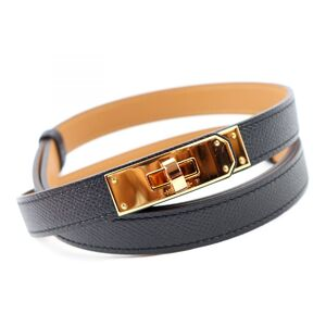 Hermes Kelly Belt Vaux Epson Ladies Black Gold Hardware Leather