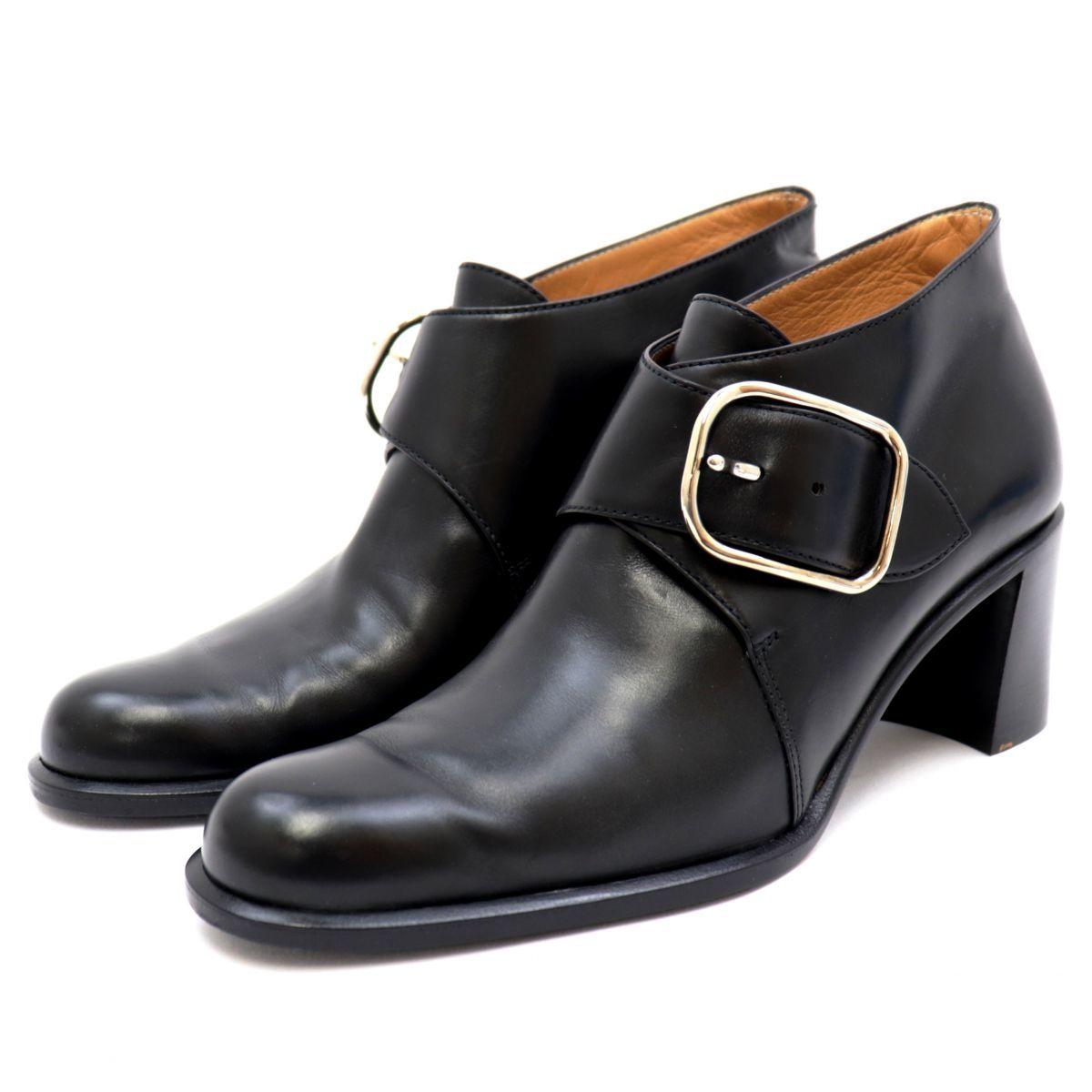 Hermes Strap Leather Heel Short Boots Women's Black 36.5 Silver Buckle