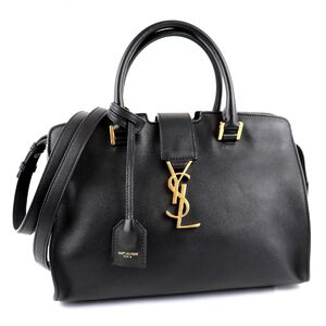 Saint Laurent Kabas 2way Shoulder Bag Black Gold Hardware Ladies Leather Hand