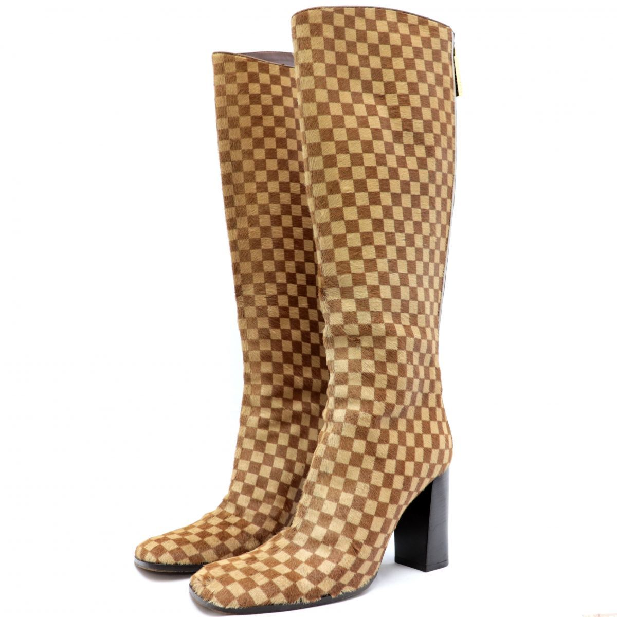 Louis Vuitton Damier Harako Long Heel Boots Women's Brown 34.5 Leather 1R0999