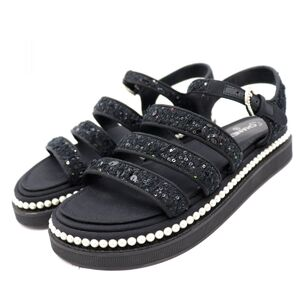 Chanel Sequins Tweed Strap Sandals Womens Black 36C Pearl Coco Mark Sport