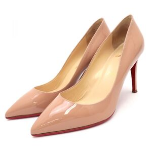 Christian Louboutin PIGALLE 85 Patent Heel Pumps Beige Nude 36.5 Pointed Toe