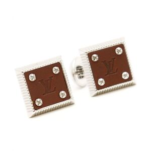 Louis Vuitton LV Square Cufflinks Brown Silver