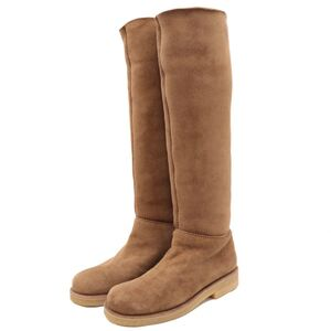 Hermes Margiela period Mouton long boots ladies brown 36 dead stock suede leather boa