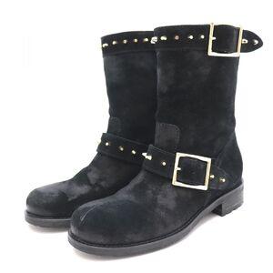 Jimmy Choo Studs Suede Engineer Boots Ladies Black 35