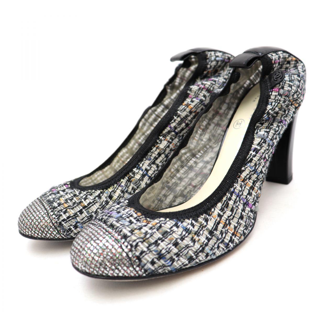 Chanel Tweed Heel Pumps Women's Gray Multi Silver 37C Coco Mark Cap Toe
