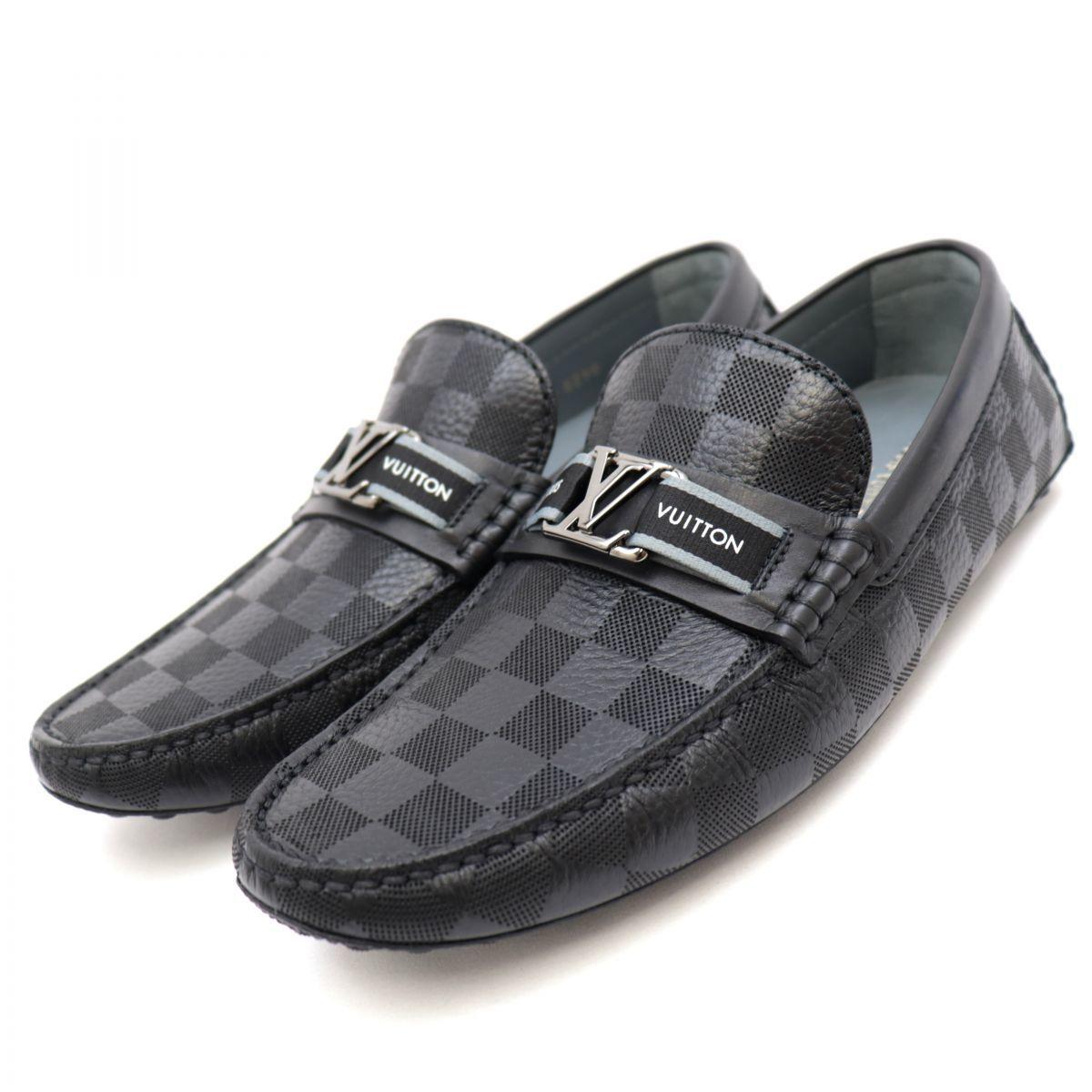 Louis Vuitton 21SS Hockenheimring Driving Shoes Men's Black 5 Damier Loafers LV hardware