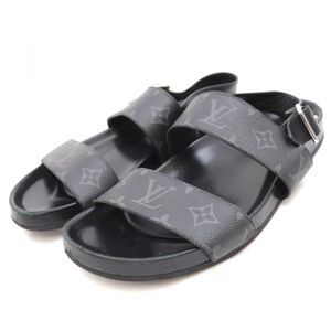 Louis Vuitton 18SS Monogram Eclipse Leather Strap Sandals Mens Black 7 Mirabeau Line 1A4UPC
