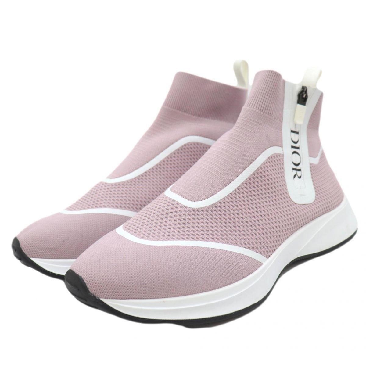 Christian Dior Dior Men B25 High Top Knit Sneakers Men's Pink 43 Logo Side Zip DIOR MEN