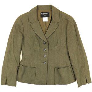 Chanel 99A 4B Single Jacket Women's Khaki 36 Wool Blazer Logo Button