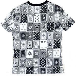 Louis Vuitton 18AW Back Playing Cards Total Pattern Short Sleeve T-shirt Men's Navy S Crew Neck Cotton Monogram