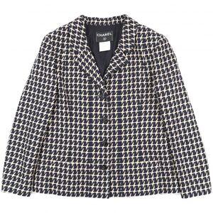 Chanel 01P Total Pattern Tweed Jacket Ladies Navy x Beige 40 Coco Mark