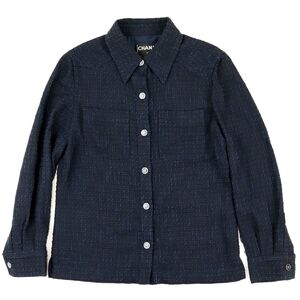 Chanel 01P Wool Tweed Blouse Women's Navy 40 Coco Mark Button Long Sleeve Shirt