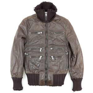 Dolce & Gabbana Knit Switch Leather Blouson Men's Brown 48 Sheep Zip Up Military Jacket
