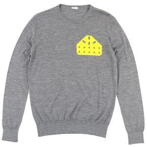 Loewe Cheese Crew Neck Knit Sweater Men's Gray x Yellow S Wool Long Sleeve LOEWE