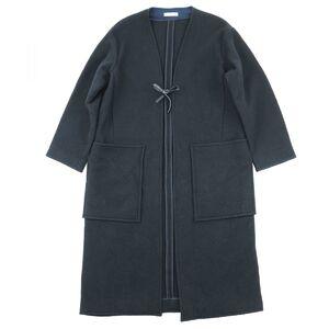 Celine 17AW Phoebe Period Gown Coat Women's Black Navy 42 Wool Overcoat