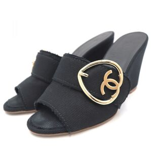 Chanel 09P Coco Mark Heart Canvas Mule Sandals Women's Black 36 Wedge Sole Heel