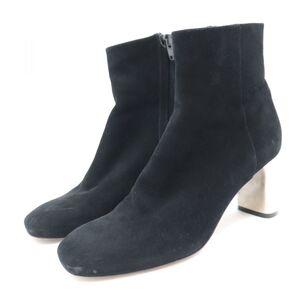 Celine Suede Leather Bang Boots Women's Black 34.5 Ankle Heels Short Side Zip
