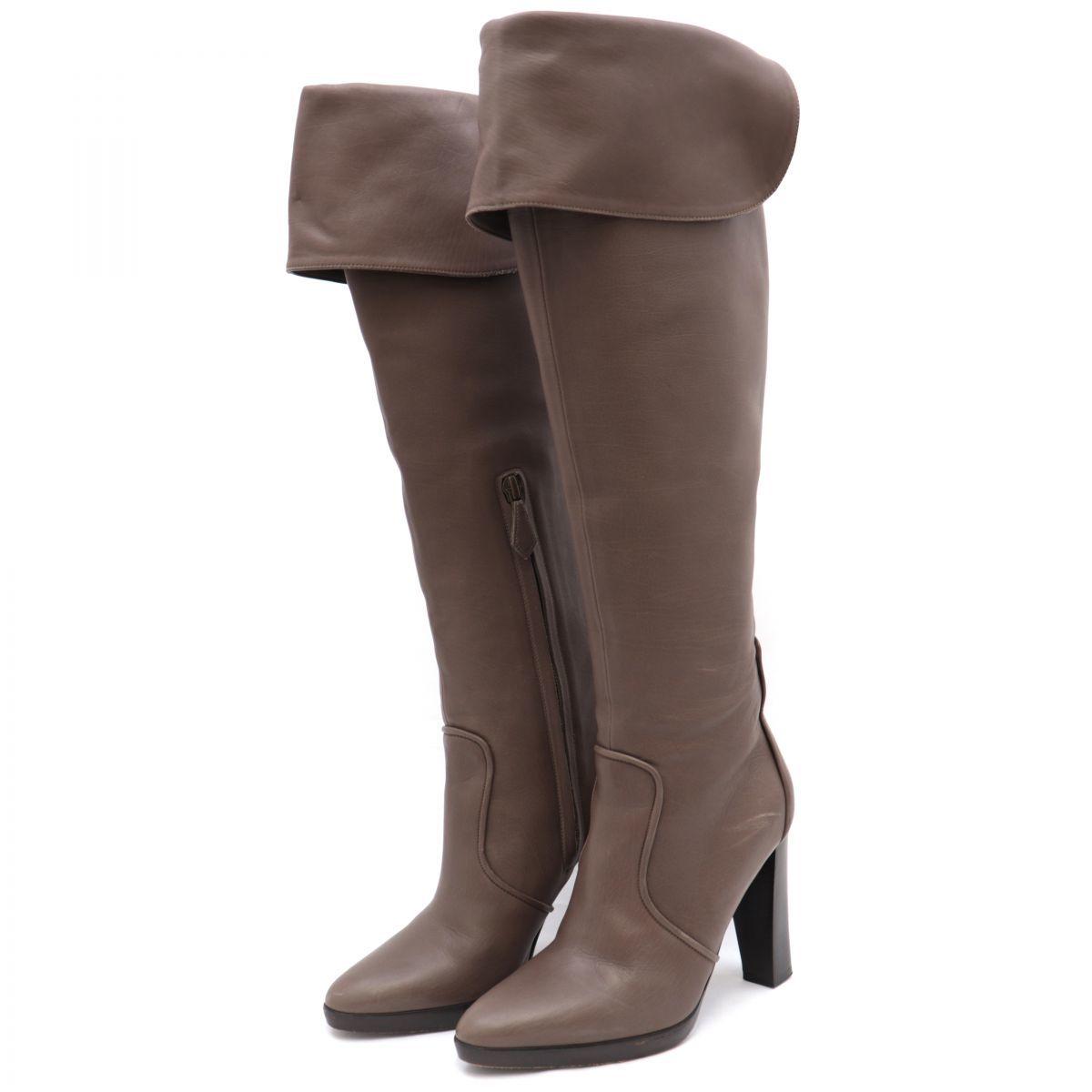 Hermes Leather Long Heel Boots Women's Brown 35.5