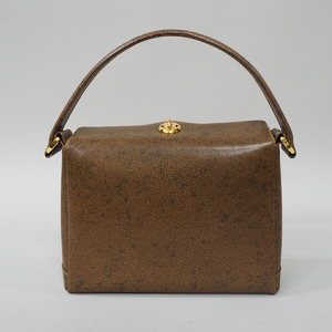 GUCCI Old Gucci Handbag Women's Vintage Gold Hardware Leather Pigskin Brown