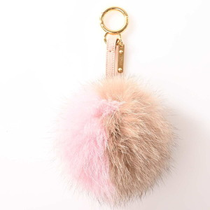 FENDI Fur Pompon Charm Pink Brown