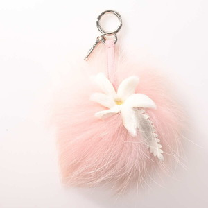 FENDI Fur Flower Pompon Charm Pink White