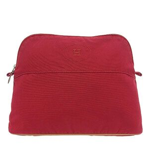 HERMES Hermes Canvas Bored Pouch Red
