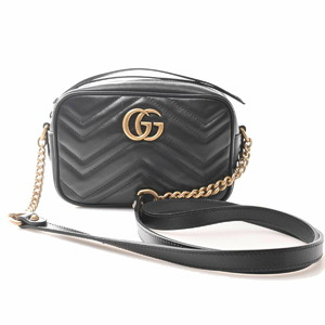 Gucci GG Marmont Leather Quilted Mini Bag Shoulder Black