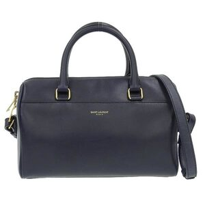 SAINT LAURENT Saint Laurent Paris Leather Baby Duffle 2WAY Handbag Navy 330958 Bag