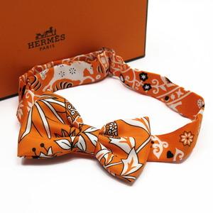 Hermes Bow Tie Ribbon Orange Silk 100%