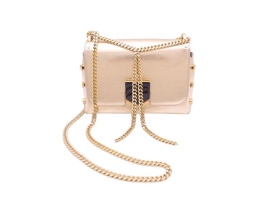 Jimmy Choo 2Way Bag Gold Leather Hardware Chain Shoulder Ladies LLZ20C