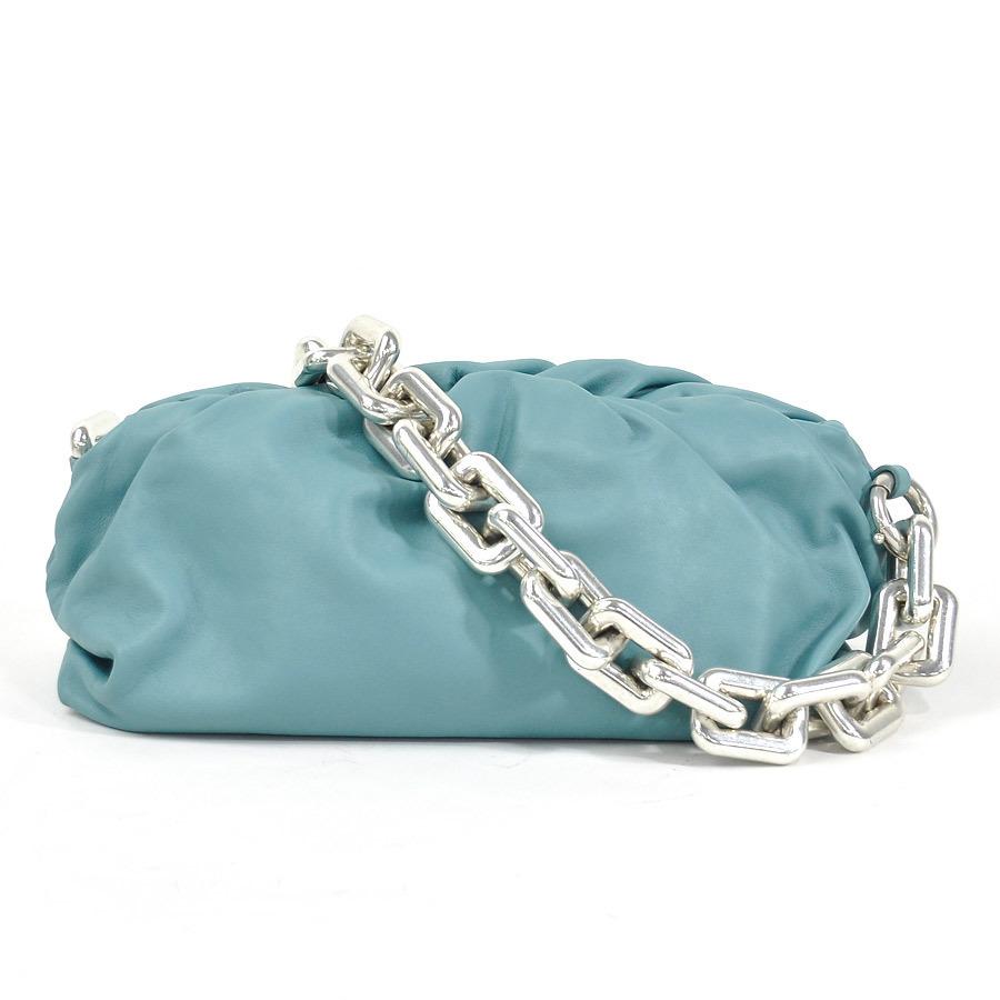Bottega Veneta Chain Shoulder Bag One The Pouch Blue Leather Silver Hardware Ladies 620230VCP40