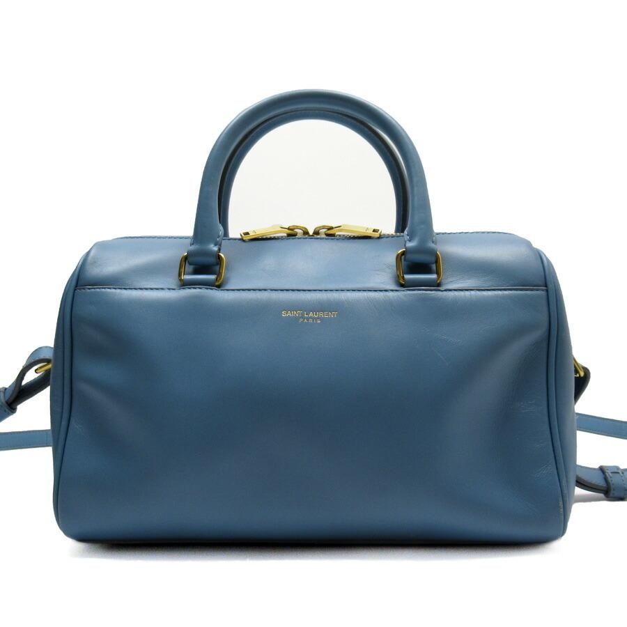Saint Laurent Handbag Shoulder Bag 2Way BABY Duffle Blue Gold Leather