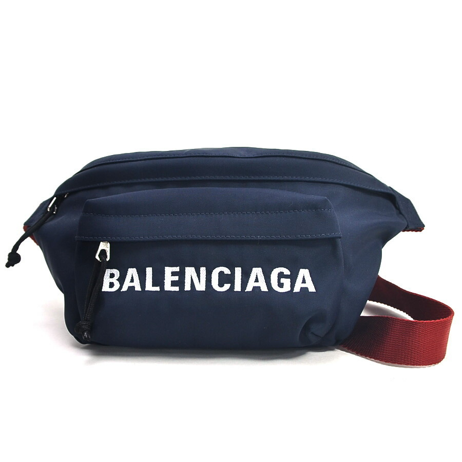 Balenciaga Body Bag Waist Pouch WHEEL BELT PACK Navy Nylon Men's
