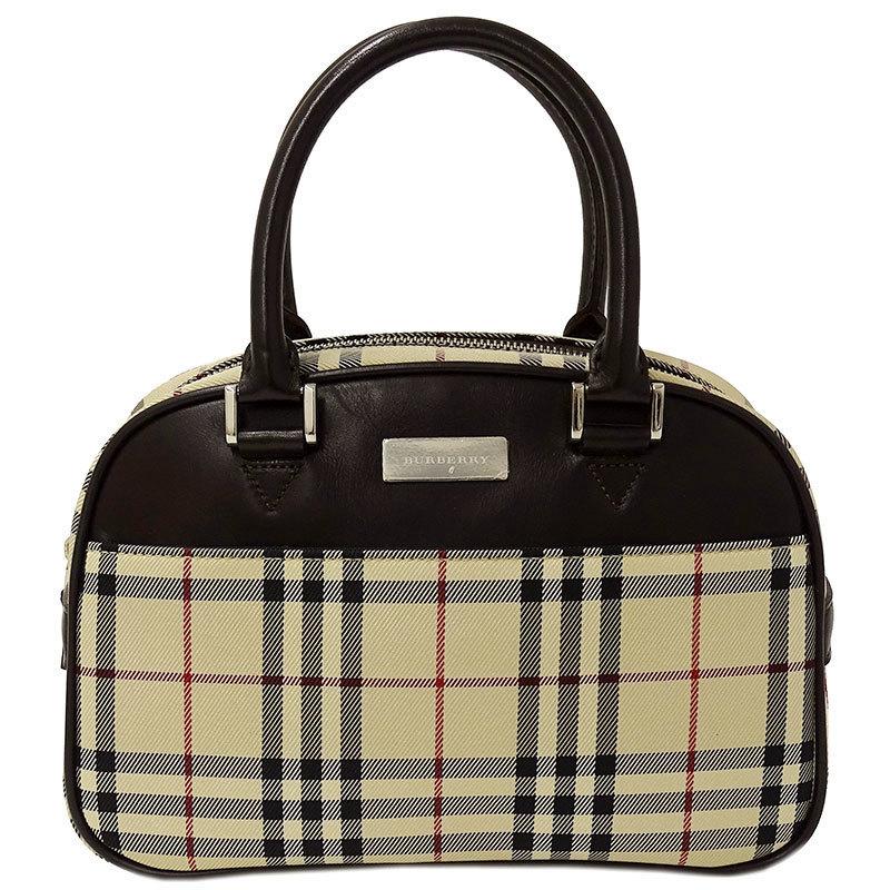 ◆ Burberry BURBERRY Handbag Canvas x Leather Beige Brown Check Ladies