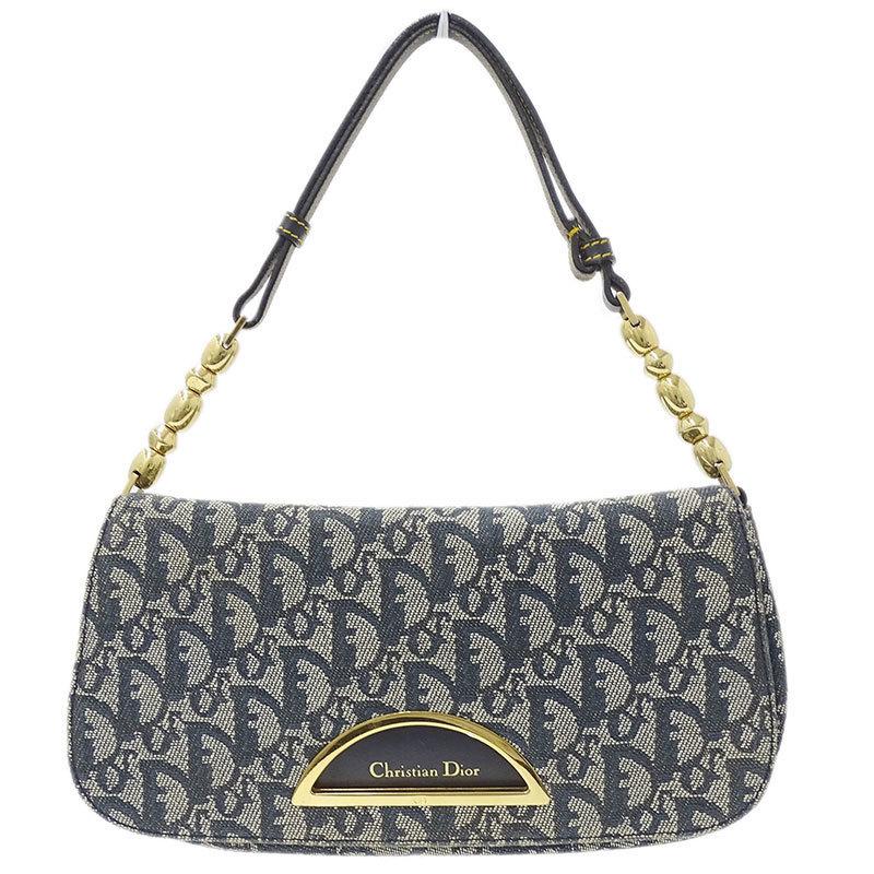 ◆ Christian Dior Trotter Handbag Ladies Canvas Navy x G Metal Fittings