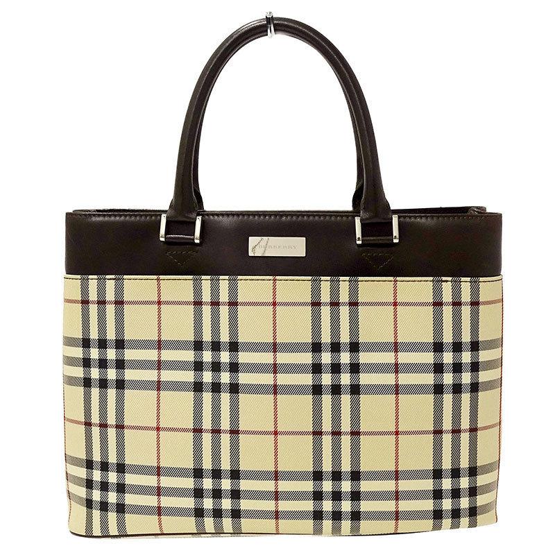 ◆ Burberry BURBERRY Handbag Tote Bag Nylon x Leather Beige Brown Ladies Check