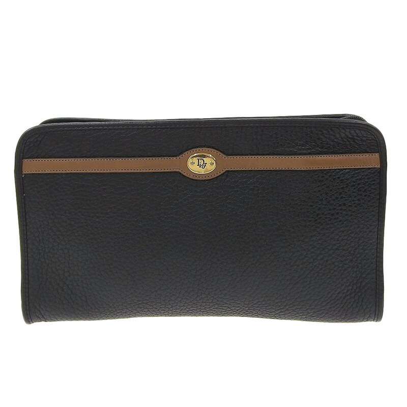 ◆ Good product Christian Dior second bag leather black