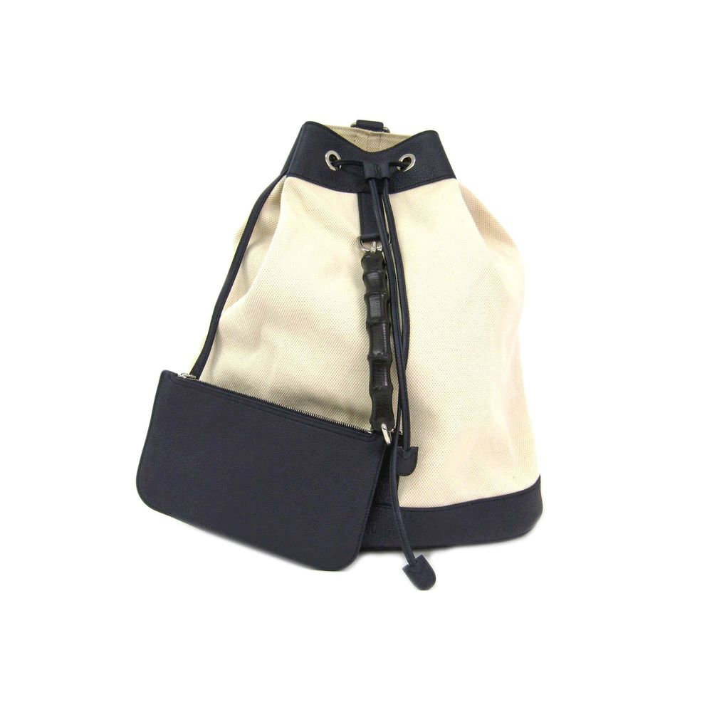 ead20330f486 GUCCI Backpack Bamboo Canvas Leather Ivory Navy 367899