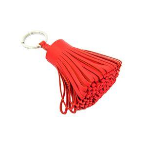 HERMES Carmen Fringe Key Holder Swift Leather Coral