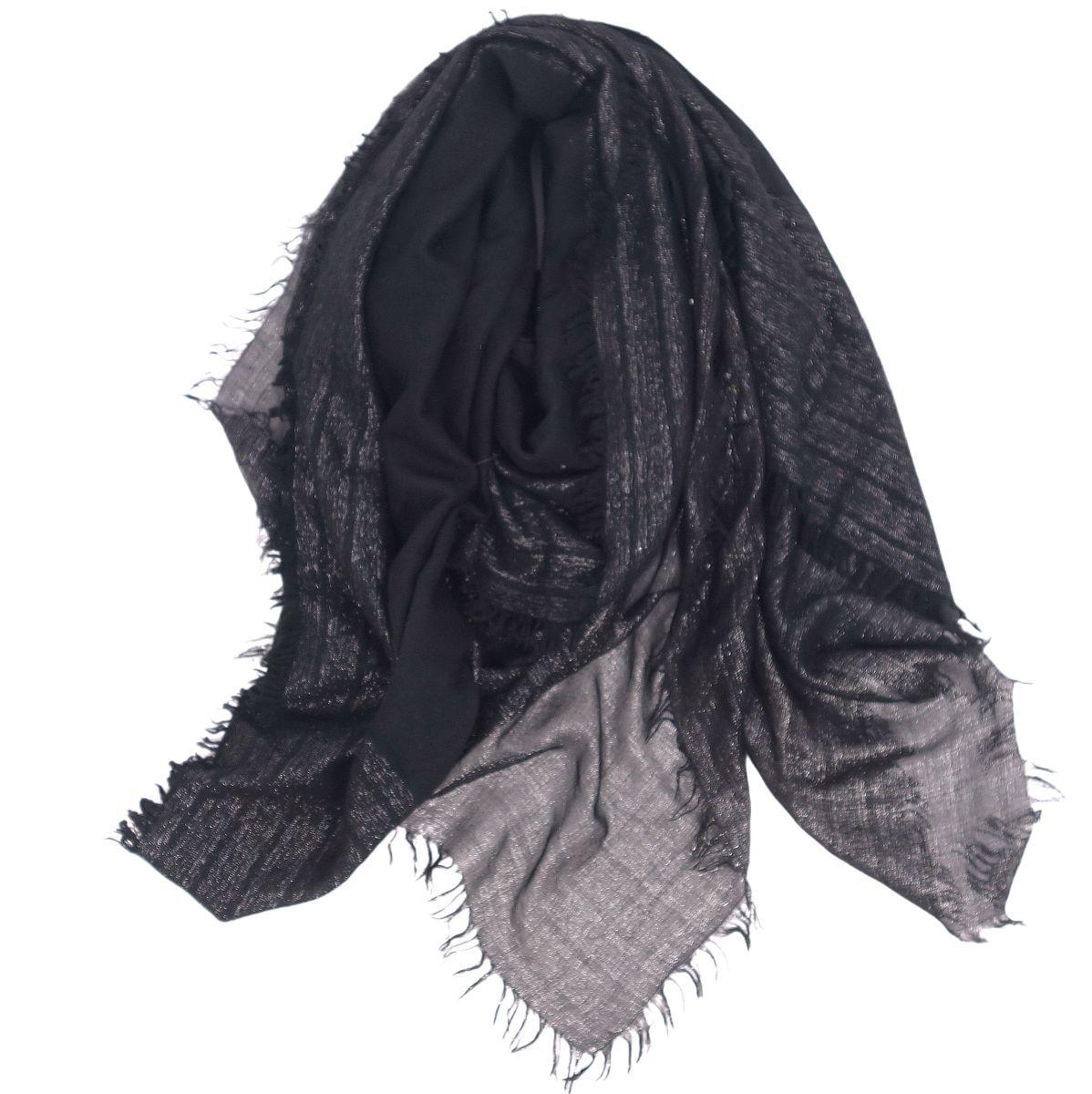 Salvatore Ferragamo Gancio Large Stole Fringe Shawl Ladies Black