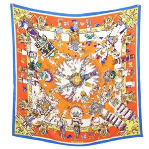 Hermes Carre 140 kachinas Kachina Hopi Silk Shawl Scarf Large Format Stole Muffler Ladies Multicolor Ethnic Pattern Total