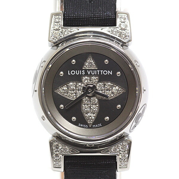 LOUIS VUITTON Ladies Watch Tambour Viju Q151K1 Gray Dial Rug Diamond
