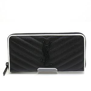 SAINT LAURENT Monogram Full Zip Wallet 358094 Black Calf Leather